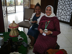 Attitya and Annet have Ethiopian Coffee