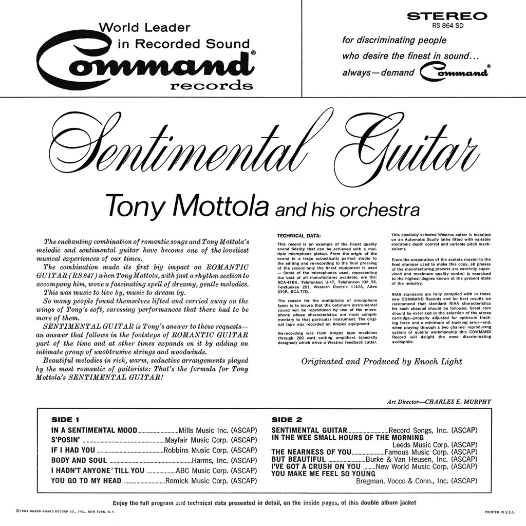 Tony Mottola - Sentimental Guitar