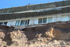 Building effected by eroding cliff in Pacifica, CA