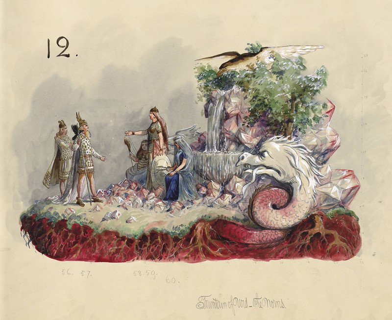 Carlotta Bonnecaze - Fountain of Urd - The Norns, float design from Krewe of Proteus, 1895