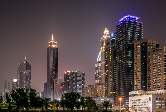 Downtown Dubai night skyline 2