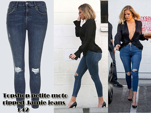 Petite moto ripped Jamie jeans with a plunging neckline top: How to wear