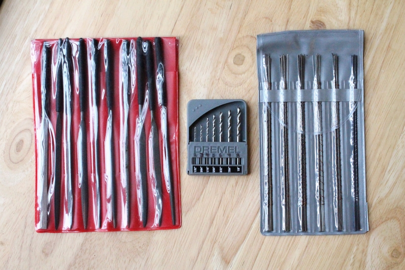 Needle files, drill bits, saw blades