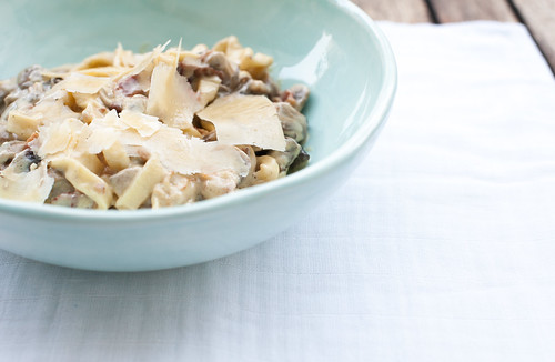 Creamy Truffle, Bacon and Porcini Pasta