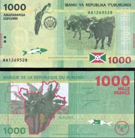 1000 Frankov Burundi 2015 P51 UNC
