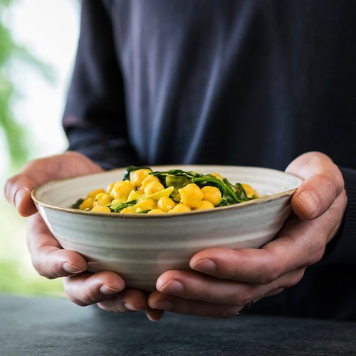 coconut curried chickpeas with wilted greens