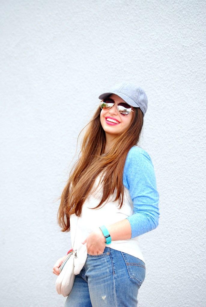 baseball cap, straight hair