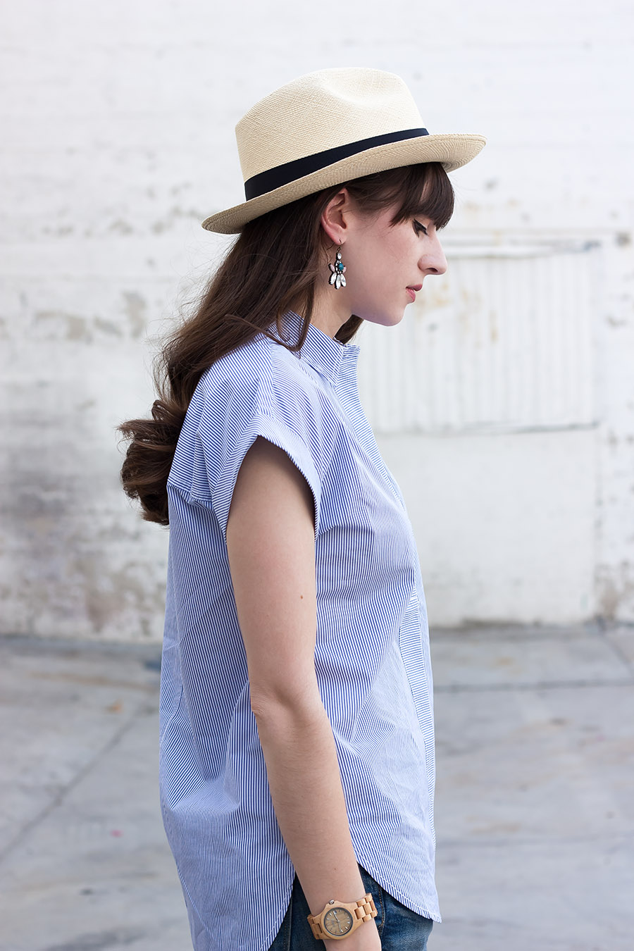 J.Crew Striped Popover, J.Crew Hat, Summer Style
