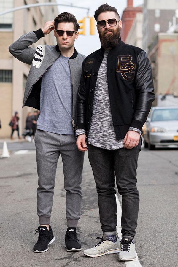 Athletic Propulsion Labsスニーカーコーデ ブルゾン×リブパンツ&スタジャン×ブラックジーンズ