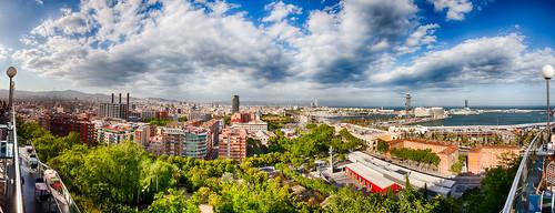 barcelona panorama es spanien katalonien
