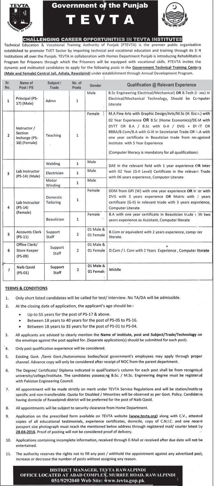 Technical Education and Vocation Authortity TEVTA  Jobs