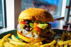 Burger w/ Swiss, Avocado, Black Bean & Fire Ro…
