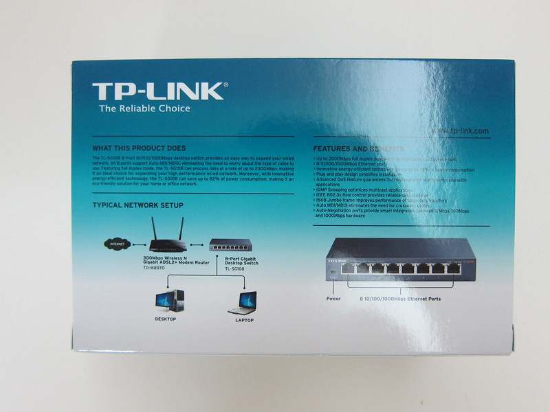 TP-Link 8-Port Gigabit Desktop Switch (TL-SG108) - Box Back