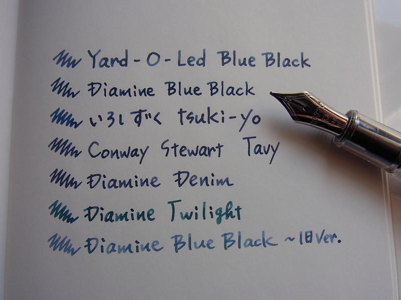 YARD-O-LED Blue Black comparison some other ink 1