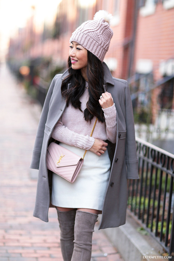 pink gray boston winter outfit saint laurent YSL crossbody bag