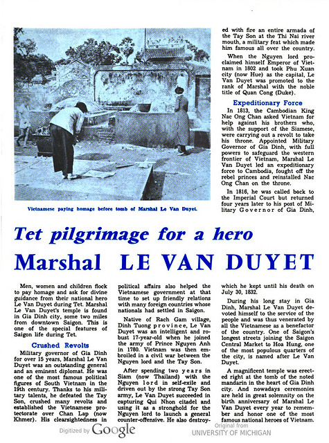 VIETNAM Bulletin - FEBRUARY 1st, 1975 (3) - Tet pilgrimage for a hero Marshal LE VAN DUYET