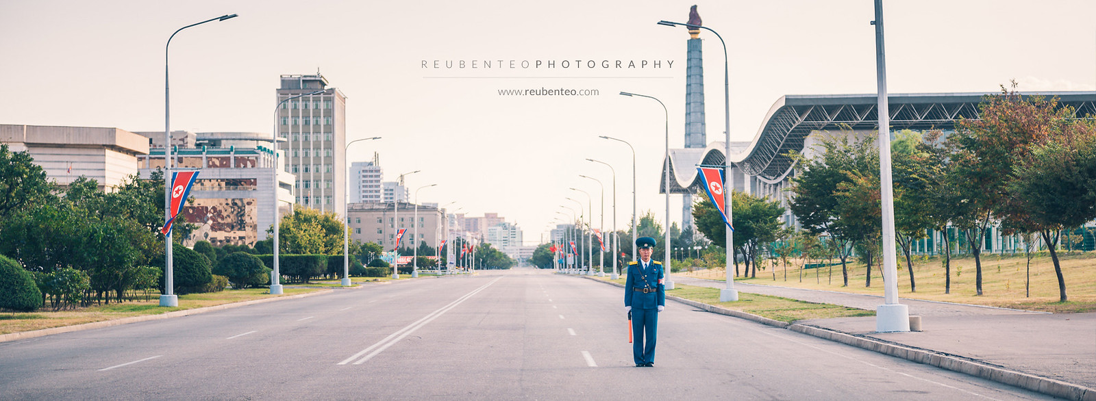 Policeman on Juche Tower Road, Pyongyang