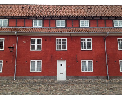 Capturing the symmetry of the red-washed brick buildings inside Kastellet