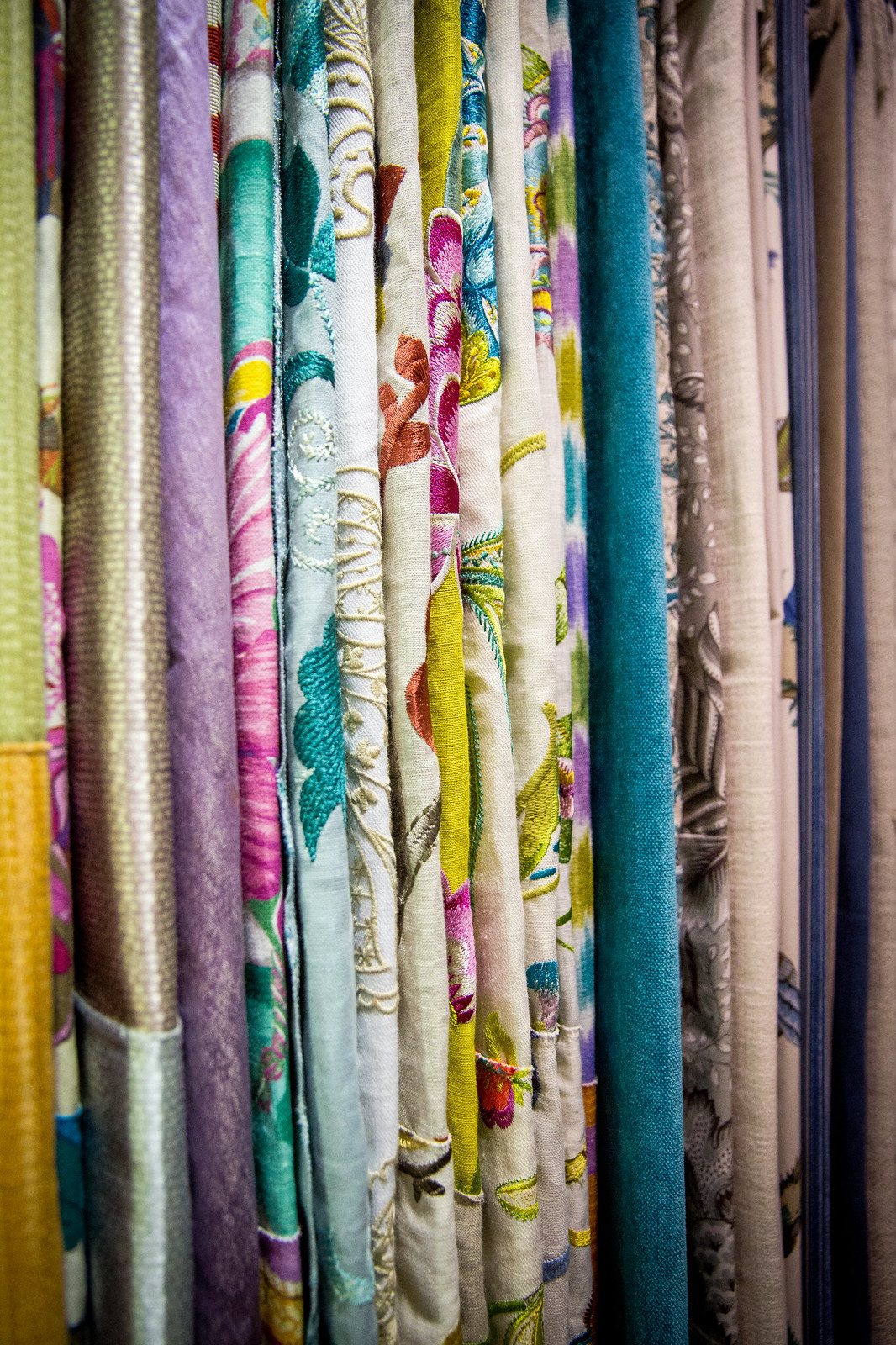 rows of fabric from the designer only fabric showroom
