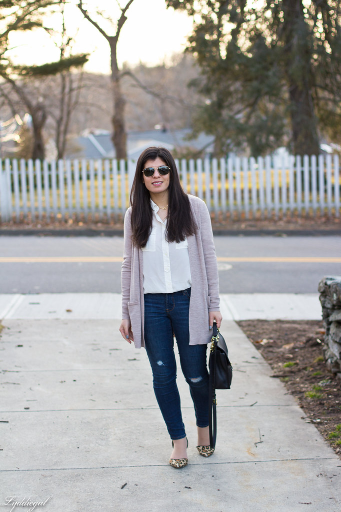white silk shirt, jeans, tan cardigan, leopard pumps.jpg