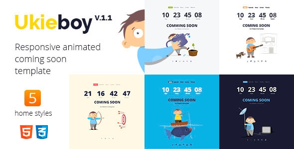 UkieBoy v1.1 – Responsive Animated Coming Soon Template