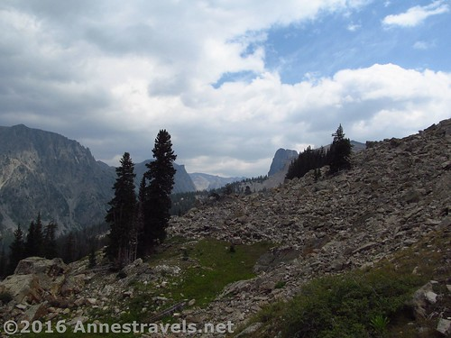 Finally out of the trees, White Rock Northeast Slopes, Wind River Range, Wyoming