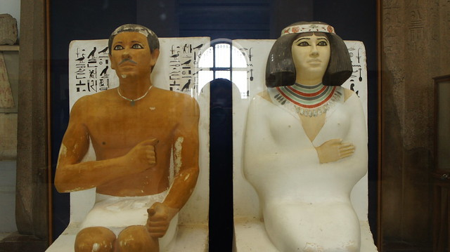 Famous Prince Rahotep and his wife Nofret Statues at the Egyptian Museum of Cairo