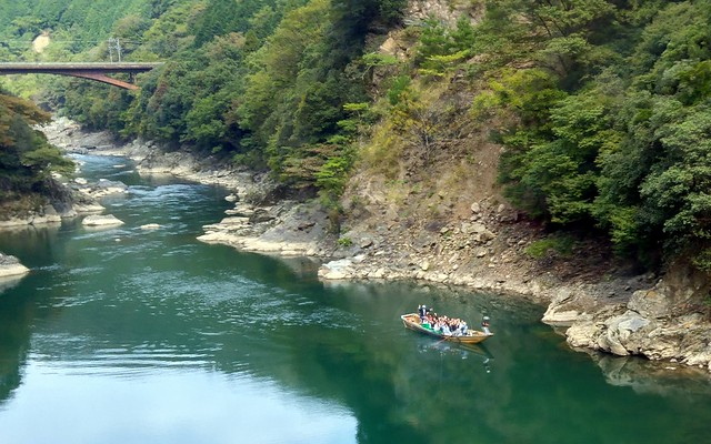 Hazugawa river boat cruise from the Sagano Scenic Railway