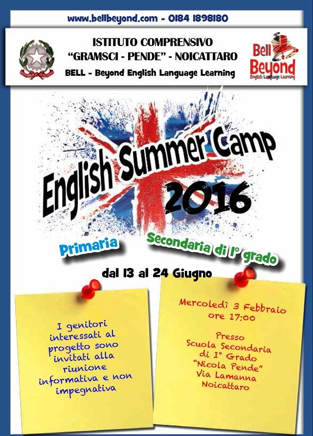 Noicattaro. English Summer Camp Pende intero 1
