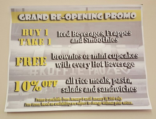 Grand re-opening promo | Koffie Pauze Opens Its New Home at 100 Roxas Dormitory - Davao Food Trips .com