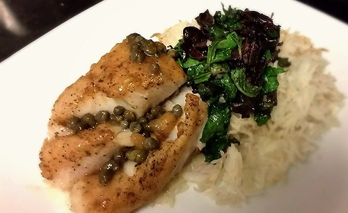 Pan seared cod with lemon butter caper sauce