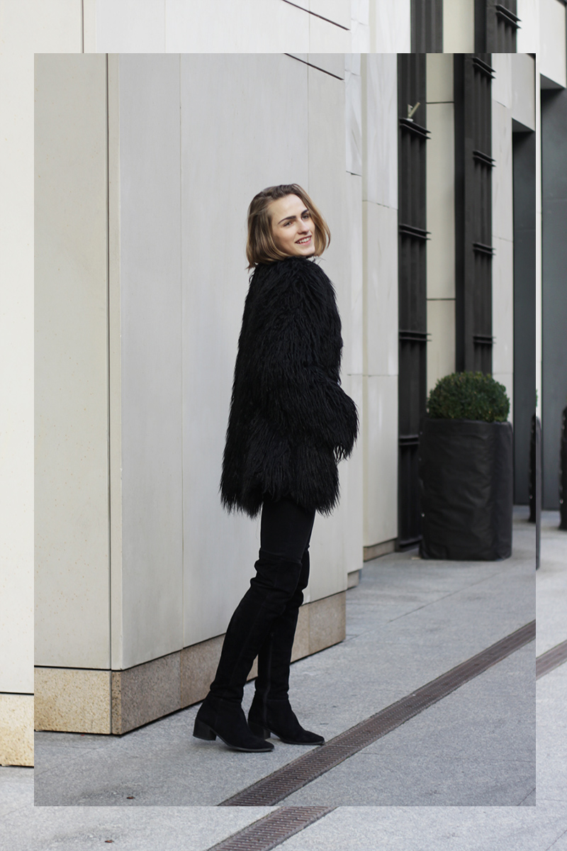 2d07055ce8c Black faux fur + over the knee boots - SO IN CARMEL