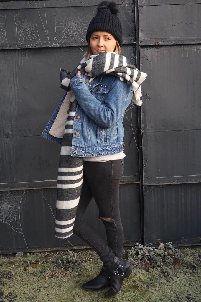 fashion,style,street style,tattoos,tattooed girls,inked girls,katelouiseblog,winter layering,styleblogger,zara,denim jacket,ankle boots,ripped jeans,