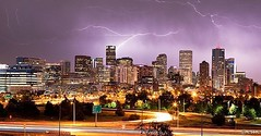 Lightning over downtown Denver, June 2012.   #denver #downtown #colorado #lightning #skyline #longexposure #storm #canon