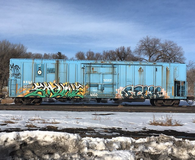 Lots of tagged train cars in Monte Vista today