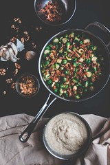 BRUSSEL SPROUTS AND BACON GRATIN WITH CREAMY CAULI…