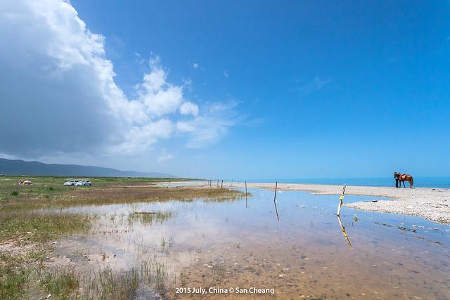 青海湖邊上走