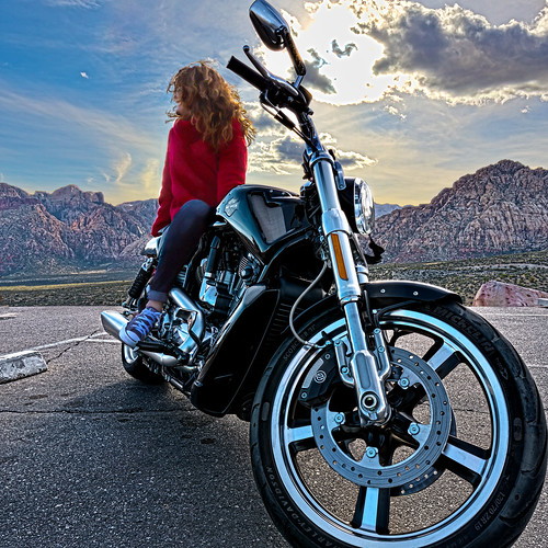 redrockcanyon sky woman usa sun nature bike america landscape march spring lasvegas earth nevada places harleydavidson motercycle mojavedesert 2016 canon5dmarkiii canonef1635mmf4lisusmlens