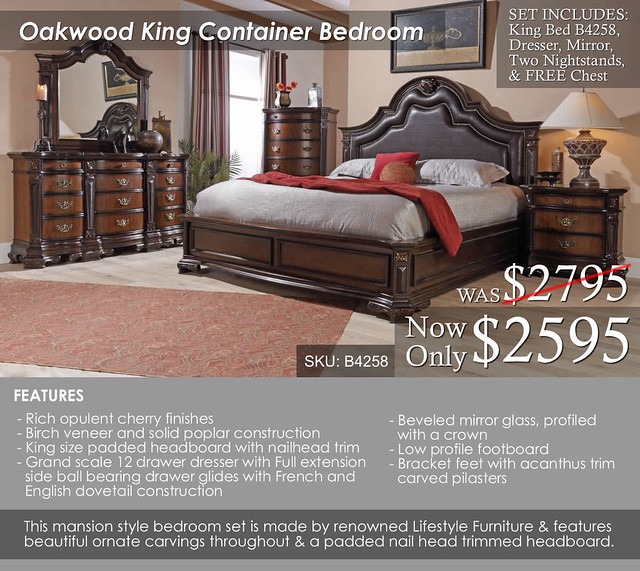 Oakwood B4258 King Mansion Bedroom Container Set