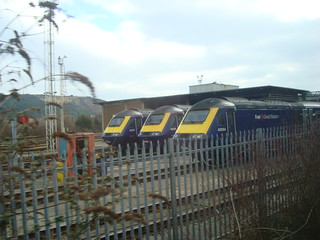 Three First Great Western INTERCITY 125 class 43 power cars at Swansea Landore depot