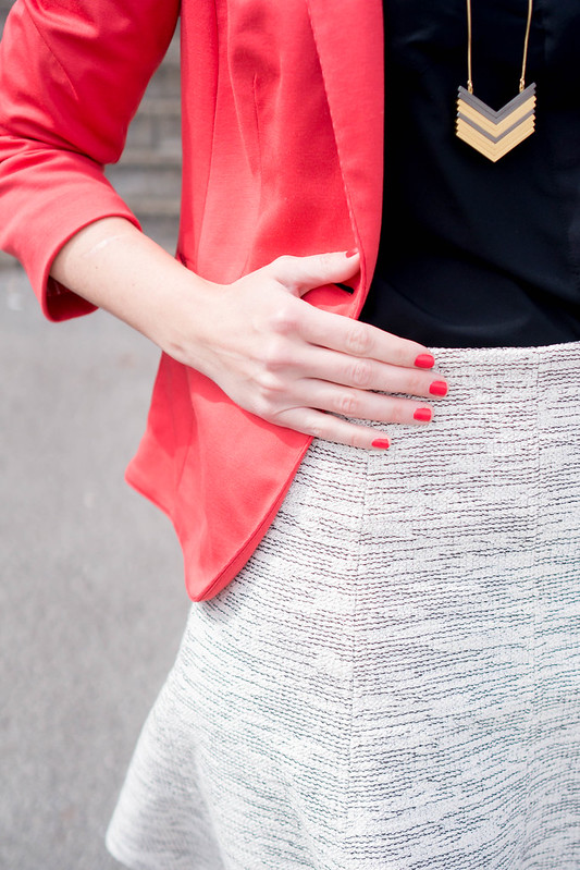 red blazer + arrowstack Madewell necklace + Loft tweed skirt + black Target heels; spring work outfit | Style On Target