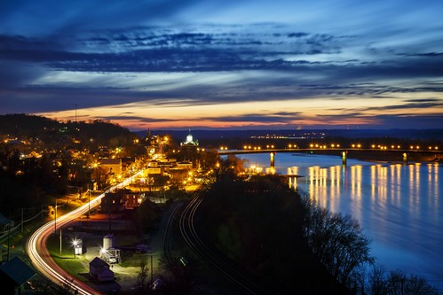 Notley Hawkins Photography, Hermann MO Photographer, Hermann MO Photo, Hermann Missouri Photography, Hermann Missouri, Missouri River, Hermann MO, nocturne, blue hour, bridge, reflection