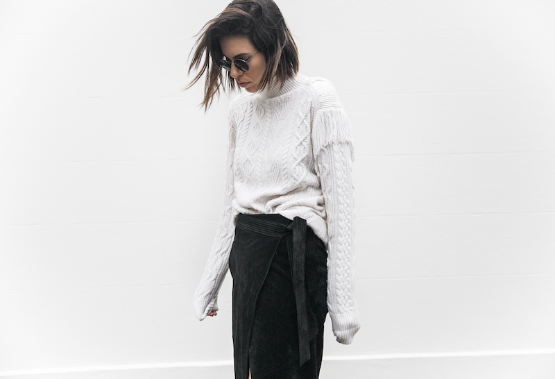 cream cable knit street style black suede skirt Isabel Marant sneaker monochrome inspo fashion blogger modern legacy x Karen Millen (12 of 12)