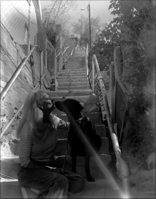Sue and Coco on the Bisbee Stairs