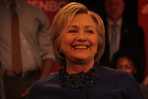 Hillary Clinton in Philadelphia yesterday
