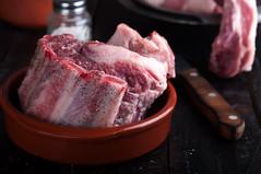 pork ribs on cutting board