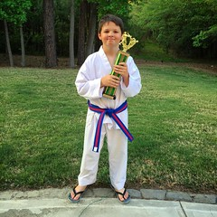 Wes got his red stripe belt today and a trophy for his self-defense technique. #TaeKwonDo