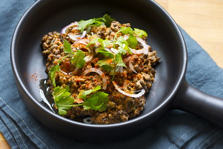 Puy lentils with tomatoes, tahini and cumin