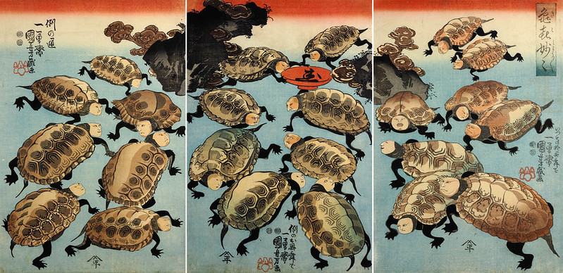 Utagawa Kuniyoshi - Ki-ki myo-myo (Strange and Marvelous Turtles of Happiness) 1847-52