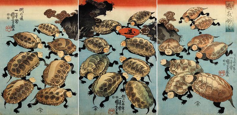 Utagawa Kuniyoshi - Ki-ki myo-myo (Strange and Marvelous Turtles of Happiness) 1847-52